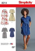 8014 Simplicity Pattern: Misses' Shirt Dress